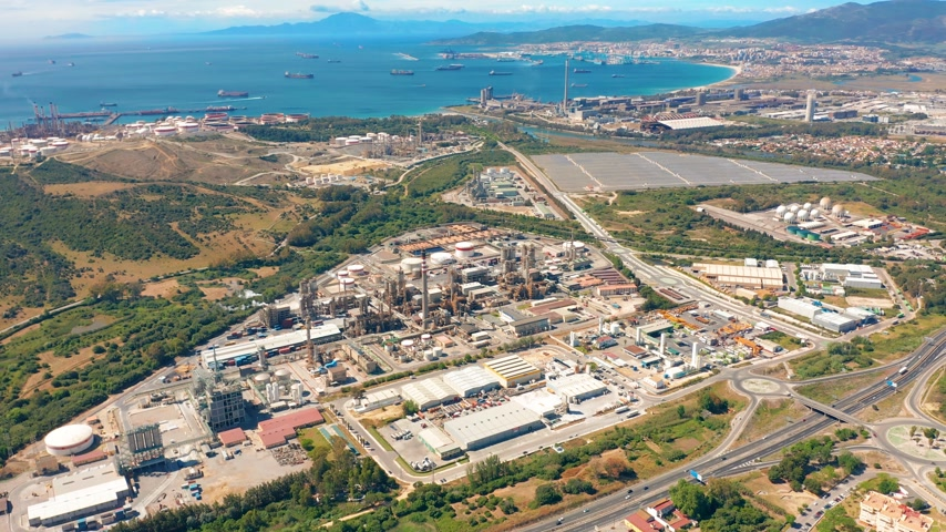 haven : Aerial view. Gibraltar-San Roque Refinery, Southern Spain. Stock Footage