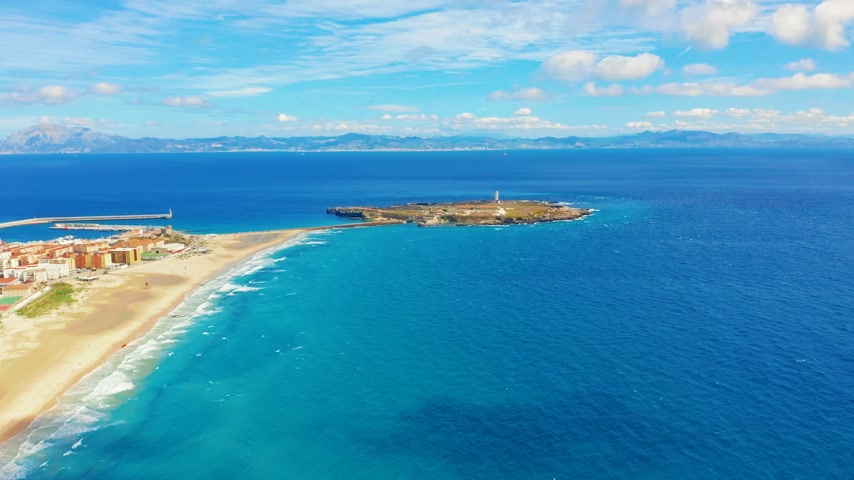 cadix : Beautiful Scenic Aerial view of Tarifa City, Spain.