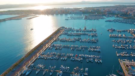 europa : Aerial view marina with sail boats. Wideo