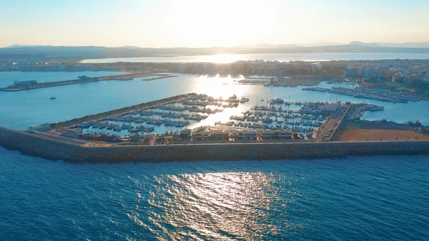ドック : Aerial view marina with sail boats. 動画素材