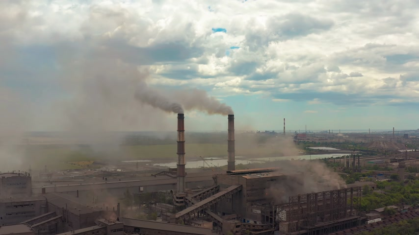 emissions : Industry pipes pollute the atmosphere with smoke, ecology pollution, smoke stacks.