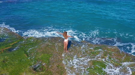клеть : Aerial view. Sexy Girl standing on the Cliff on the Rocky Beach. A woman looks into the distance. Стоковые видеозаписи