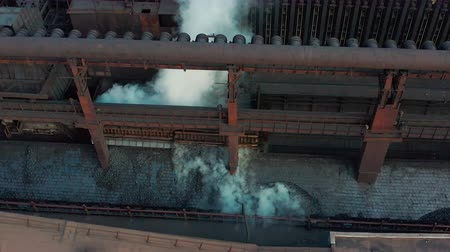 metallurgical plant : Aerial view. Coal move on conveyor in modern processing plant. Stock Footage