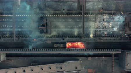minério : Aerial view. The issuance of hot coke. Metallurgical plant. Vídeos