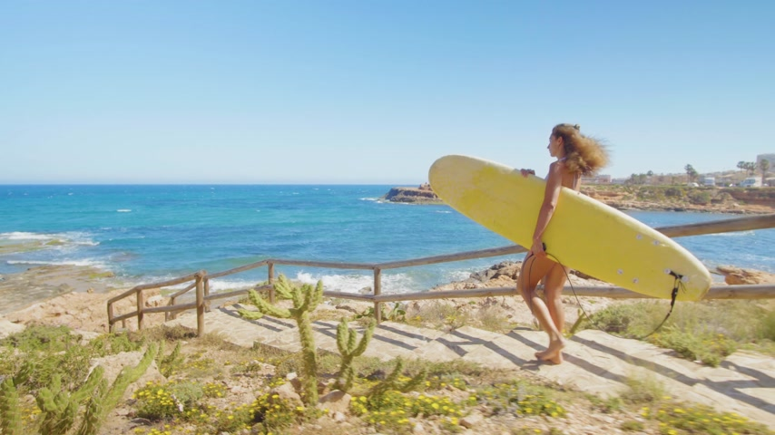 доска для серфинга : Rear view of Attractive surfer girl, walking on beach with surfboard.