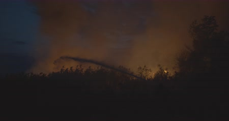 lutador : Burning grass on field at the night. Firefighters fighting a fire with a hose and water during firefighting. Accidental disaster, ecological catastrophe.