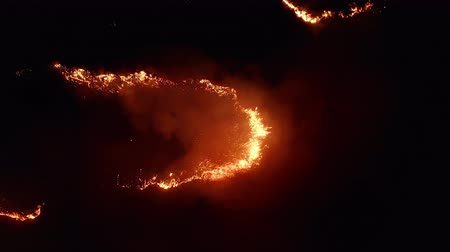 kamış : Aerial view. Dangerous fire in the field. Night fire, natural disaster.
