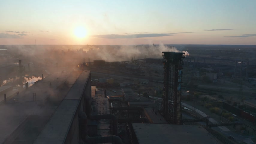 emissions : Aerial view. Industry Pipes Pollute the Atmosphere With Smoke.