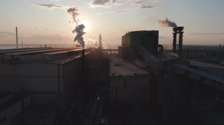 faraglioni : Aerial view. Industry Pipes Pollute the Atmosphere With Smoke.