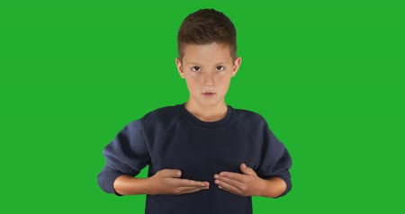 handikap : Deaf boy signing I know sign language, communication for hearing impaired. Green screen
