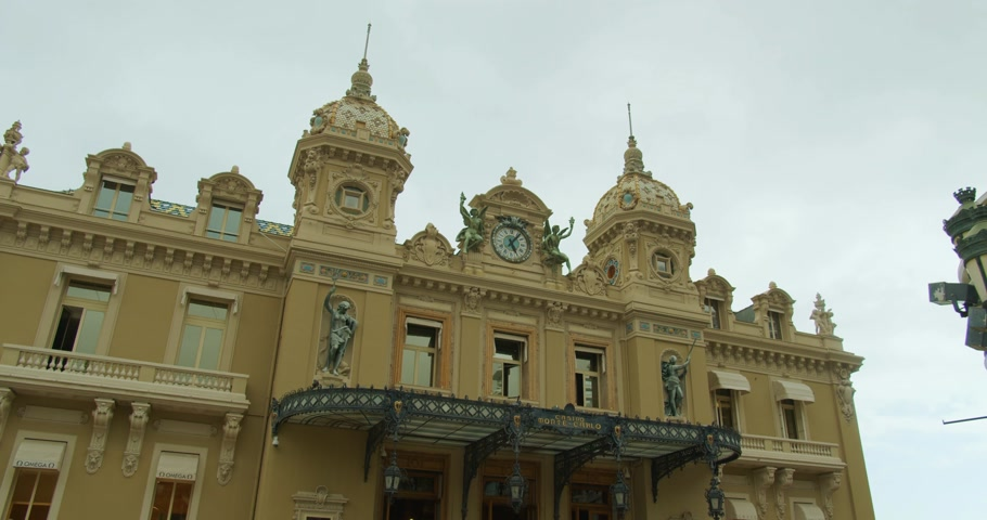 Monte-Carlo, Monaco - October 15, 2019: Grand Casino in Monte Carlo, Monaco. historical building. Front view with entrance.