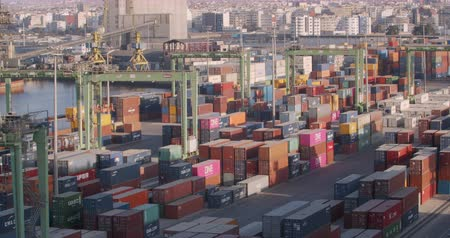 CASABLANCA, MOROCCO - October 15, 2019: Container terminal, business logistic. Crane, Trade Port , Shipping.