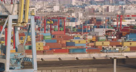 CASABLANCA, MOROCCO - October 15, 2019: Industrial containers box from freight ship. Import export concept.