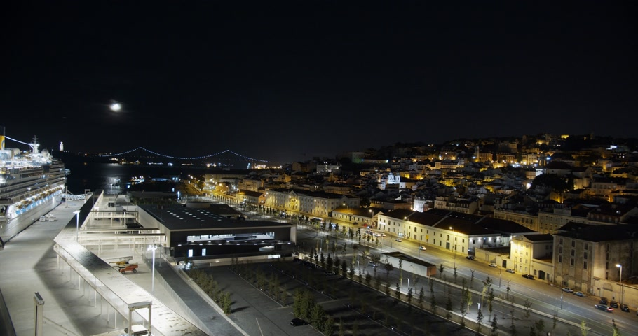 alfama : Aerial view. Lisbon Portugal night cityscape city centre view aerial panorama, timelapse.