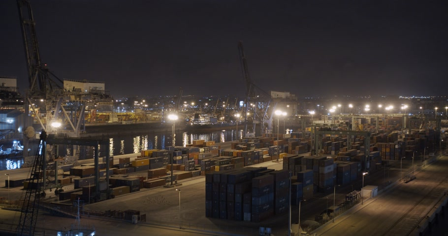 CASABLANCA, MOROCCO - October 15, 2019: Aerial view. Cranes and containers of Casablanca, one of the biggest ports in the world.
