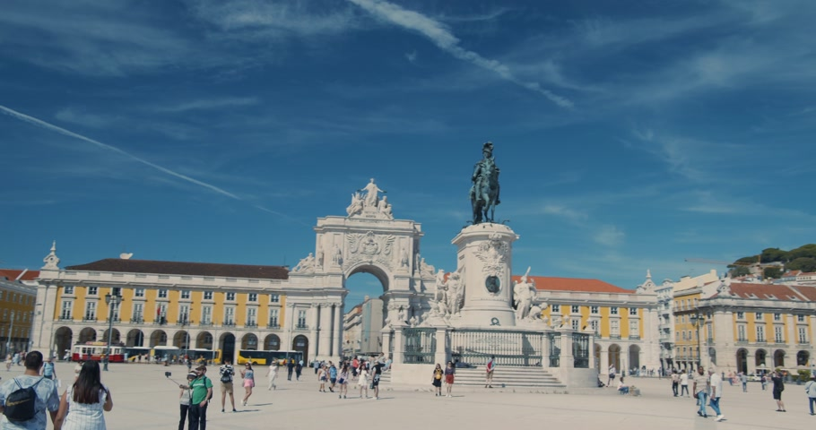 Lisbon, Portugal - CIRCA October 15, 2019: Comercio Square and Rua Augusta Arch in Lisbon, Portugal.