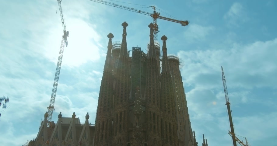 Barcelona, Spain - October 15, 2019: Sagrada Familia - the cathedral designed by Gaudi, Barcelona, Spain. Timelapse.