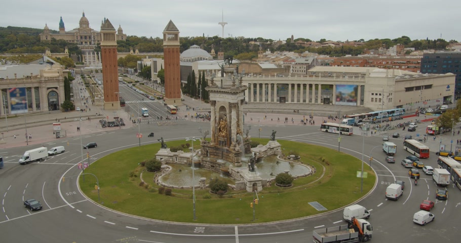 espana : Timelapse. City traffic with Venetian Towers, Area of spain, Barcelona.