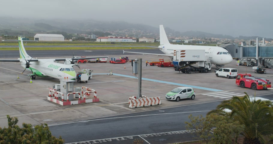 FEBRUARY 15th, 2020 - TENERIFE, CANARY ISLANDS, SPAIN: Timelapse in the airport. Airport service.