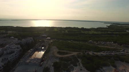 Aerial panoramic view of Cancun. Drone revolves around, show panorama of Cancun Stock Footage