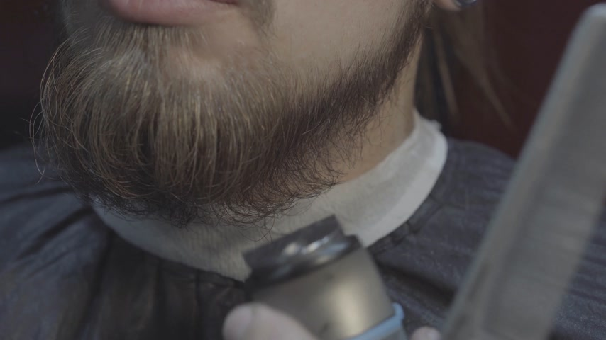 Close-up of a barber cuts beard of the client with trimmer at a barber shop