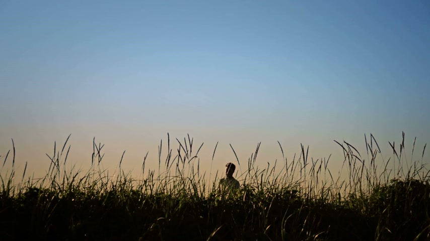 раскол : Man Jumping in Blowing Grass Silhouette.