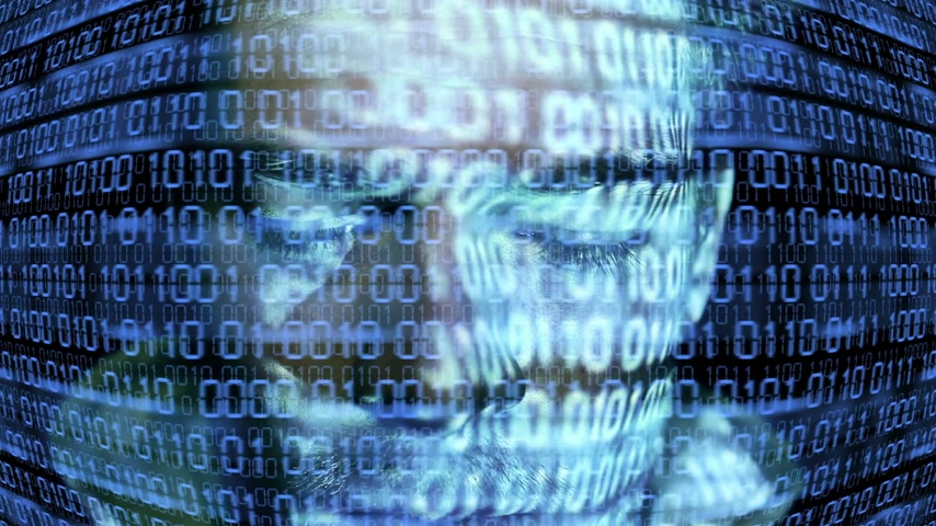 eye : ID theft looking at the camera with binary codes reflections