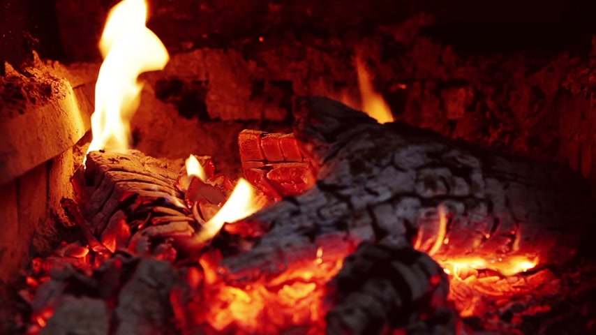 helyek : Slow Combustion Fireplace Log Wood Fire Closeup Stock mozgókép