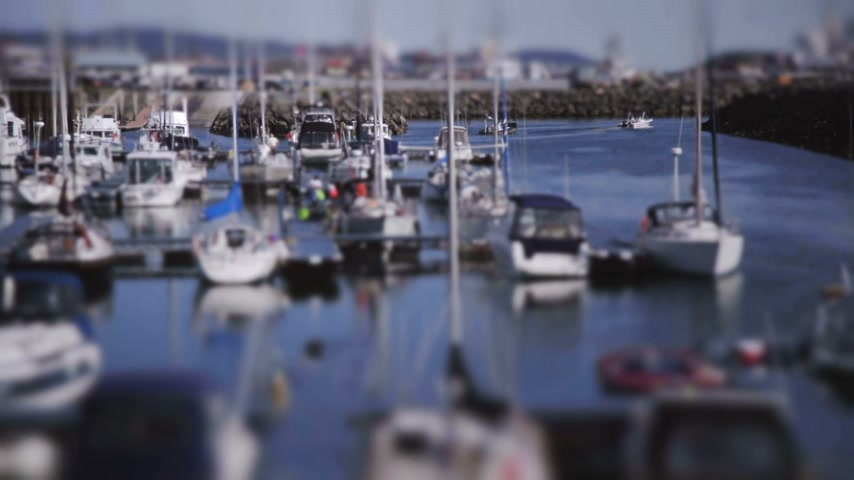 ancorado : Crowded Boat Marina Tilt-Shift Timelapse of Moving Boats