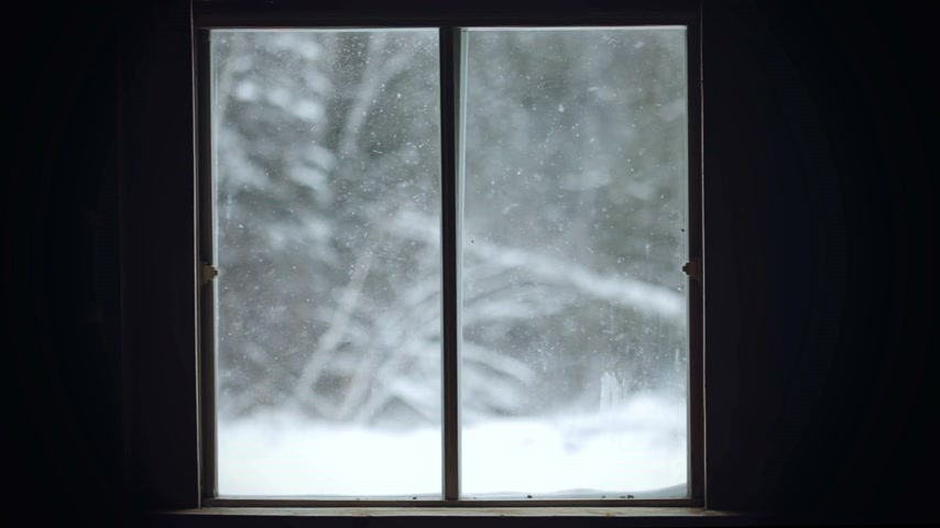 okno : Snowstorm View from indoor through the Window Wideo