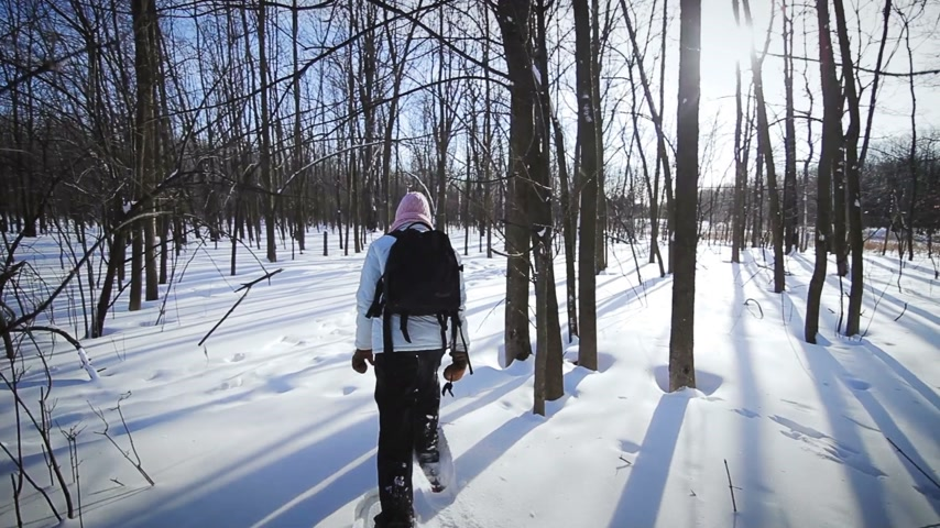Lonely Woman Snowshoeing in Forest on a Beautiful Winter Day