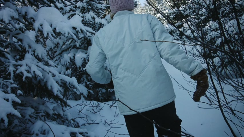 bétula : Handheld Footage of a Woman Walking in Forest Alone During the Winter in lot of Snow