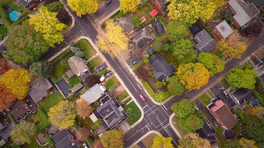 arrabaldes : Top Suburban View of Montreal and beautiful Trees during a Cloudy Autumn day