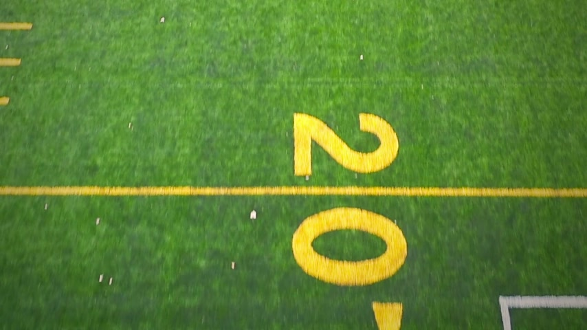 trawnik : Aerial Footage of Outdoor Synthetic Football Field Lines and Numbers Wideo