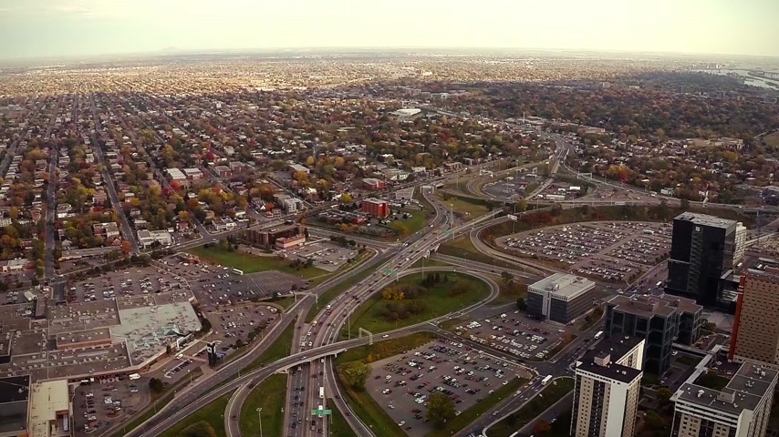 arrabaldes : Aerial Footage of Montreal and Longueuil City, Quebec, Canada (during Autumn)