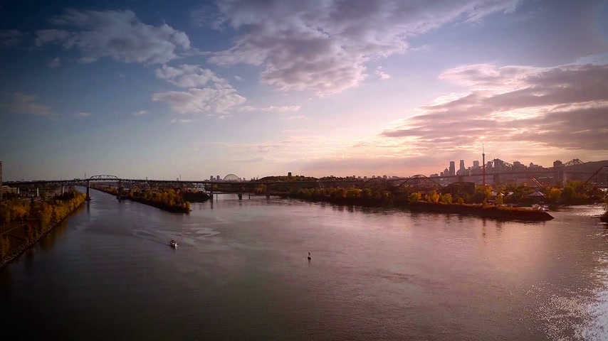 drone : Aerial Footage of Montreal and Jacques-Cartier bridge city in Quebec, Canada during Autumn Stock Footage