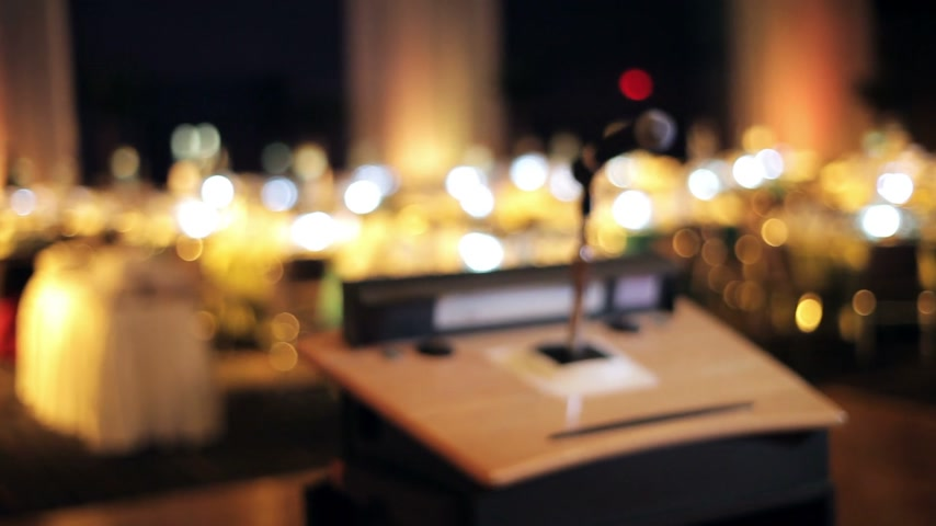 corporate : Microphone on a stand in a empty room