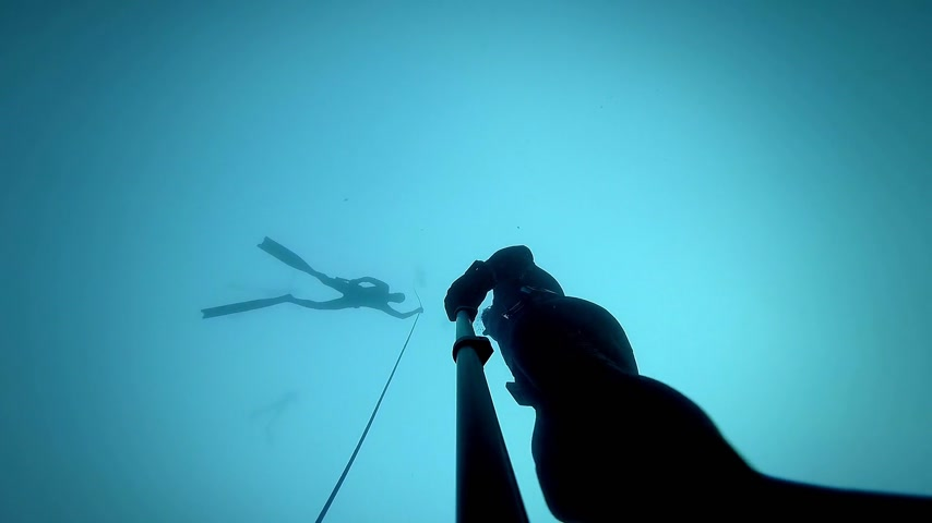 ploutve : Freediver in silhouette Ascending from a 20m Dive with Someone as Safety