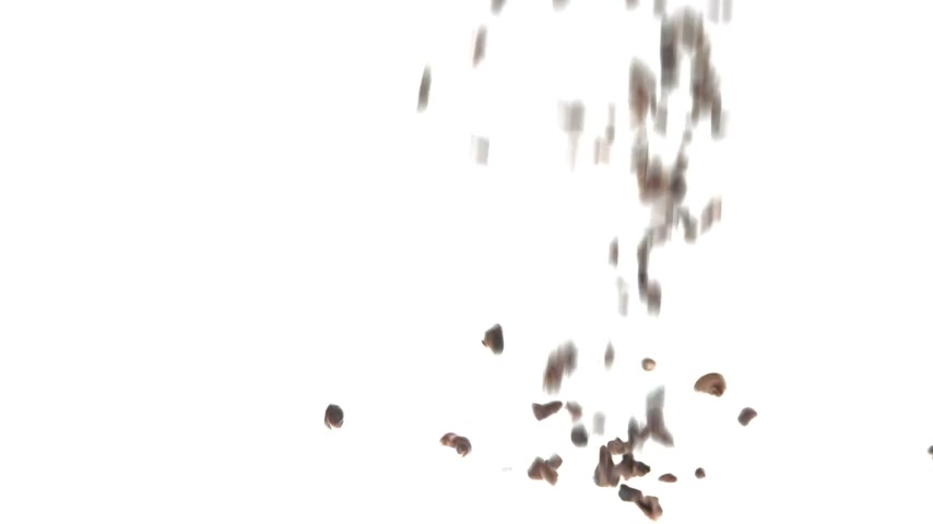 étel : 180fps Super Slow Motion Cacao Nibs Falling on White Surface