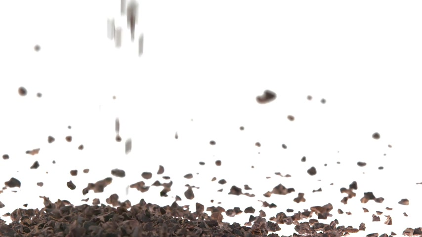 nasiona : 180fps Super Slow Motion Cacao Nibs Falling on White Surface
