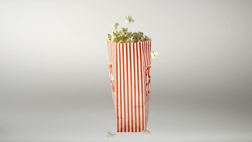 sinema : 180fps Super Slow Motion Popcorn Falling Inside Vintage Bag