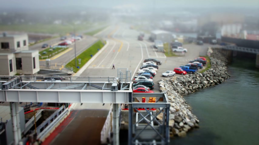 miniatűr : departure of a ferryboat fast Timelapse Motion using a Tilt Shift Lens
