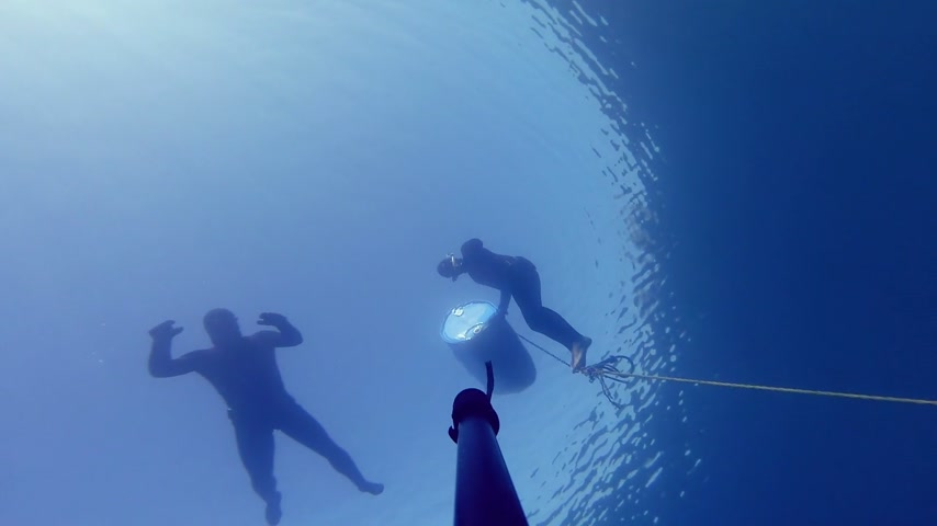 ploutve : Camera Falling Down and Showing 3 Divers on the surface