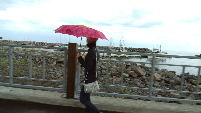 bezmotorové létání : Young Blonde Woman Walking Along the Marina with an Umbrella