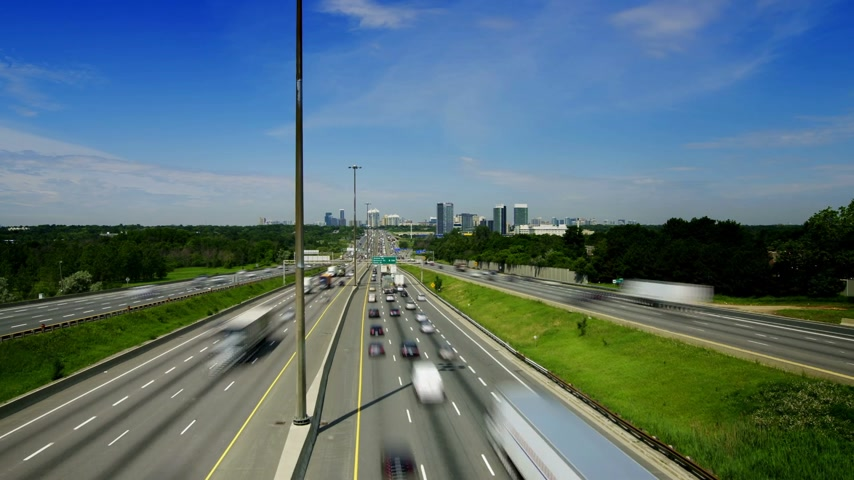 north america : Timelapse of Kings Highway 401 near Toronto in Ontario Canada. The part of Highway 401 that passes through Toronto is the busiest highway in the world.