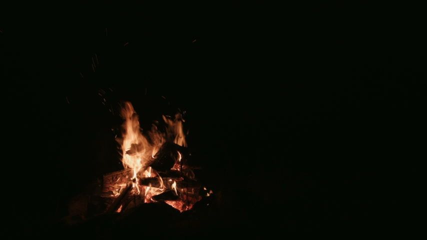 kamp ateşi : Time Lapse of a Camp Fire Burning and Logs getting Smaller and Smaller