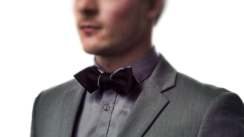 suit and tie : Rotating Portrait of a Well-Dressed Young Man with a Suit and a Classic Bow Tie