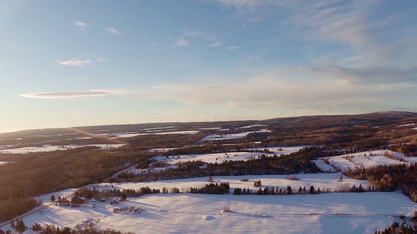 erdészet : Aerial 90m 360 View of Rural and Forest Landscape during a Winter Sunset,