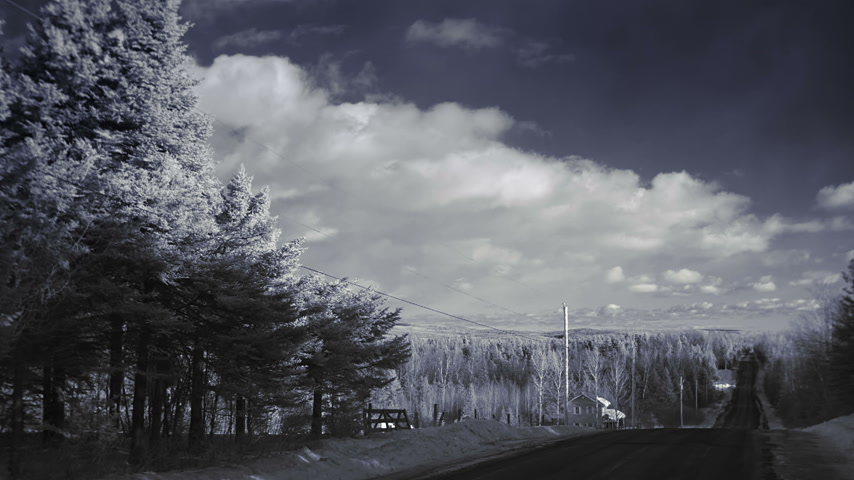 Infrared Timelapse or Rural Road and Forest Nature Landscape during Winter