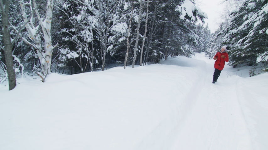 ladin : Steadicam of Running Woman in a Forest Trail during Winter Stok Video